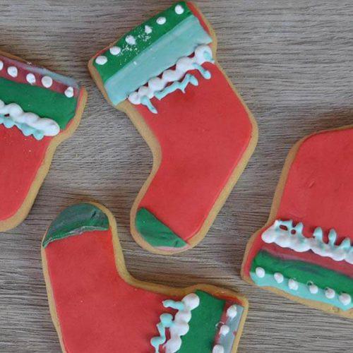 Biscotti decorati calza di Natale - senza Lattosio
