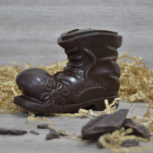 Scarpa di Natale al cioccolato fondente 60% - certificata senza tracce di latte