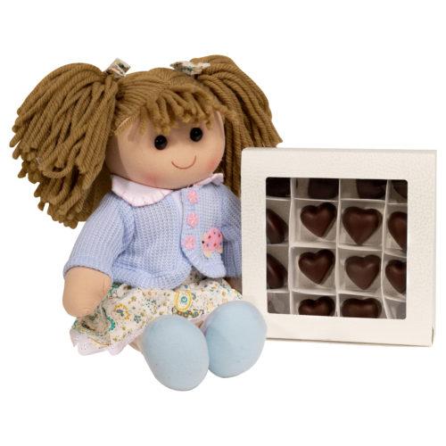 Bambola Hello Dolly e cioccolatini a cuore